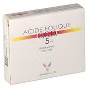 Acide folique ccd 5 mg, 20 comprimés