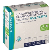 Alginate de sodium/bicarbonate de sodium biogaran 0,5 g/0,267 g, 24 sachet-doses de suspension buvable