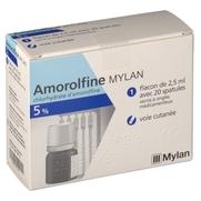 Amorolfine mylan 5 %, flacon de 2,5 ml de vernis à ongle médicamenteux et 20 spatules