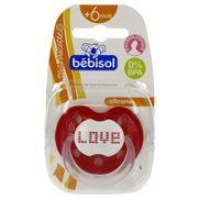 Bébisol  sucette l physiologique décorée 6-36mois silicone - rouge love  x1
