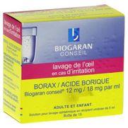 Borax/acide borique biogaran conseil 12 mg/18 mg par ml, 15 récipients unidose de solution pour lavage ophtalmique