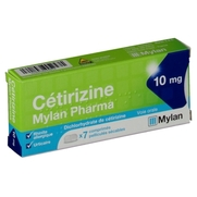 Cetirizine mylan pharma 10 mg, 7 comprimés pelliculés sécables