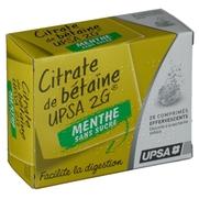 Citrate de betaine upsa 2 g menthe sans sucre, 20 comprimés effervescents
