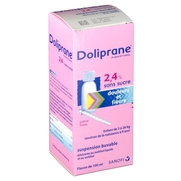 Doliprane 2,4 % sans sucre, flacon de 100 ml de suspension buvable