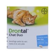 Drontal chat duo, boîte de 1 plaquette de 2 comprimés enrobés sécables