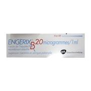 Engerix b 20 microgrammes/1 ml, 1 seringue préremplie de suspension injectable