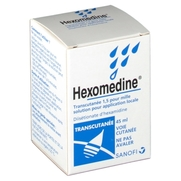 Hexomedine transcutanee 1,5 pour mille, flacon de 45 ml de solution pour application locale