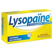 Lysopaïne maux de gorge cetylpyridinium lysozyme sans sucre, 36 comprimés à sucer