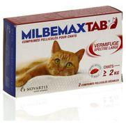 Milbemaxtab comprimes pellicules pour chats, boîte de 1 plaquette de 2 comprimés pelliculés sécables