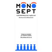 Monosept 0,25 pour mille (0,1 mg/0,4 ml), 30 flacons unidoses de 0,4 ml de collyre
