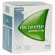Nicorette 2 mg sans sucre, 210 gommes à mâcher