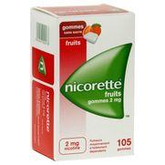Nicorette fruits 2 mg sans sucre, 105 gommes à mâcher