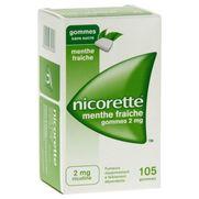 Nicorette menthe fraiche 2 mg sans sucre, 105 gommes à mâcher