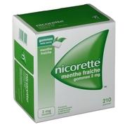 Nicorette menthe fraiche 2 mg sans sucre, 30 gommes à mâcher