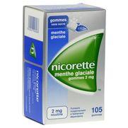 Nicorette menthe glaciale 2 mg sans sucre, 105 gommes à mâcher