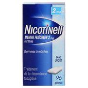 Nicotinell menthe fraicheur 2 mg sans sucre, 96 gommes à mâcher