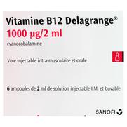 Sanofi Vitamine B12 Delagrange 1000 microgrammes/2 ml, 6 ampoules de 2 ml de solution injectable I.M et buvable